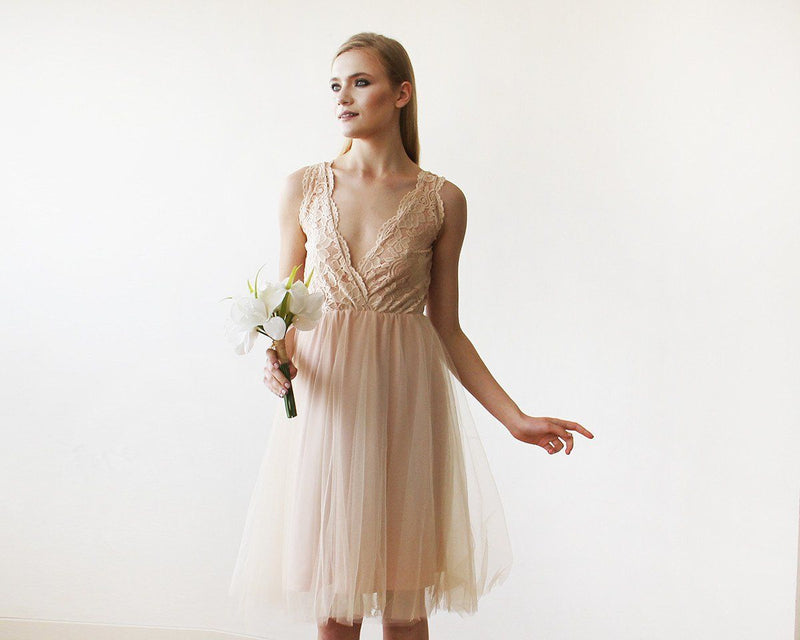 Pink Tulle and Lace Short Dress #1157