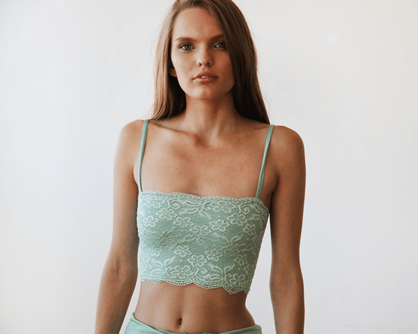 Mint lace stretchy bandeau