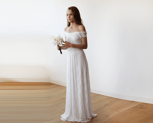Ivory Off-Shoulders Lace Bridal Gown 1098