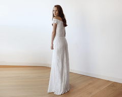 Ivory Off-Shoulders Lace Bridal Gown 1142 - Blushfashion