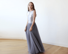 Sleeveless Silver and Grey Sequins Maxi Tulle Dress with Open-Back 1099 - Blushfashion