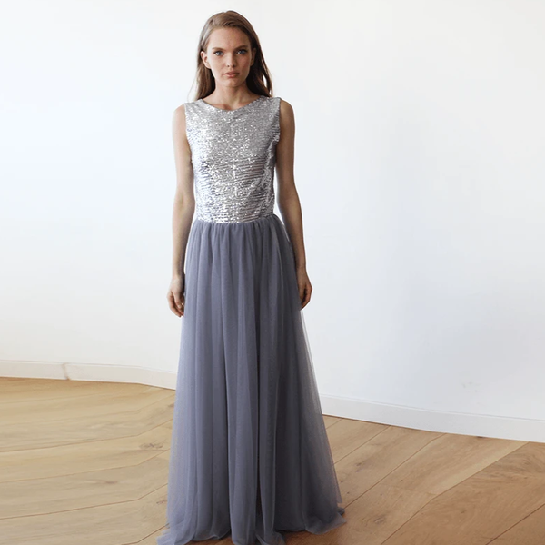 Sleeveless Silver and Grey Sequins Maxi Tulle Dress with Open-Back SALE 1099