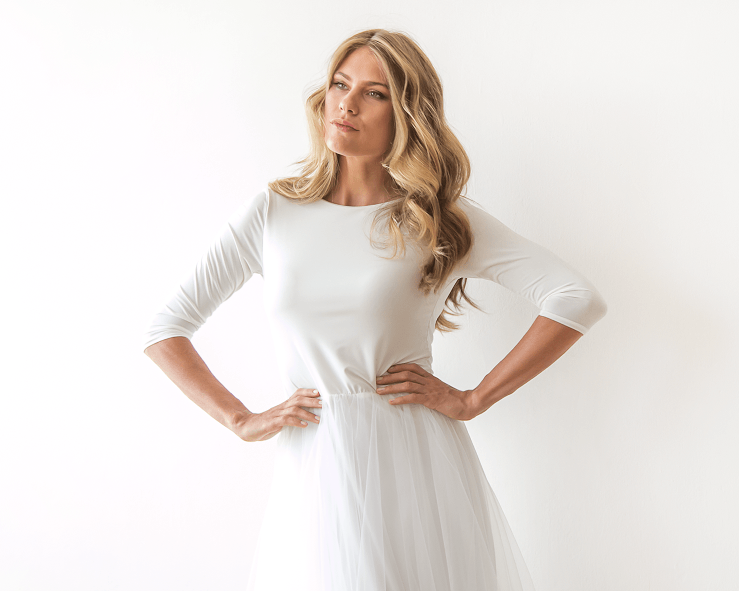 Ivory Open Bacl Tulle Midi Dress SALE 1051 - Blushfashion