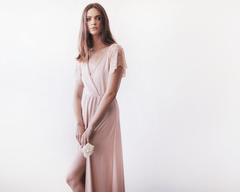 Pink wrap maxi dress with short lace sleeves SALE 1052 - Blushfashion