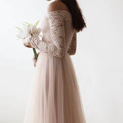 Blush Off-The-Shoulder Lace and Tulle Maxi Dress 1134