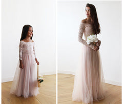 Pink Off-The-Shoulder Lace and Tulle Maxi Flower Girls Gown 5040