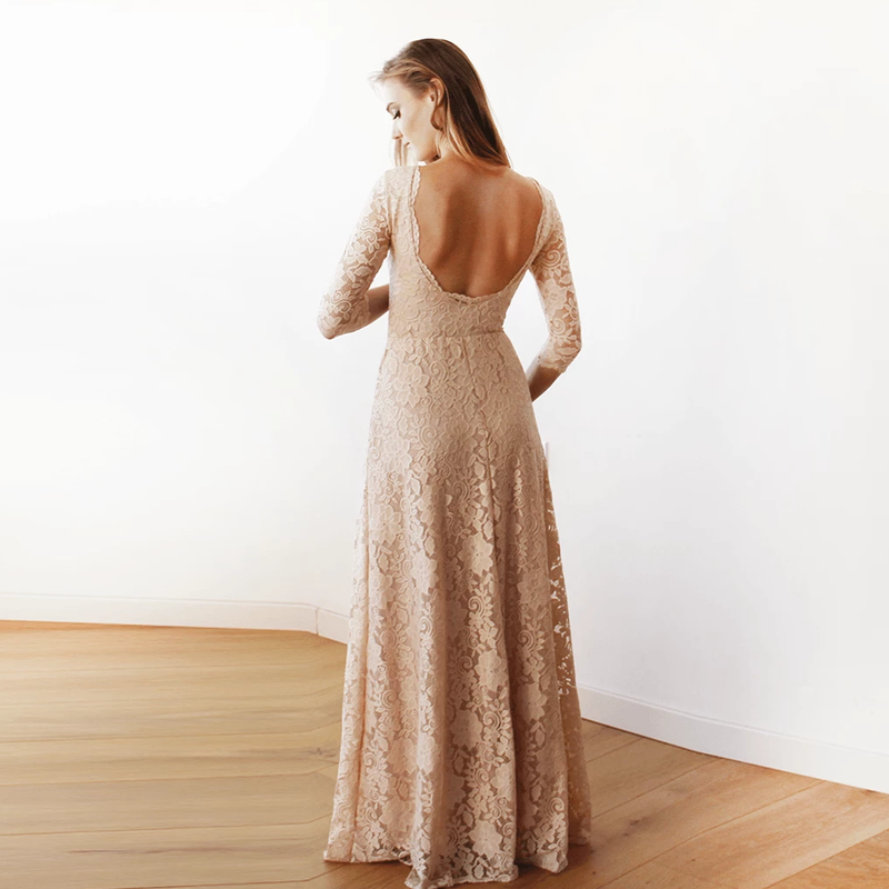 Blush Pink Floral Lace Maxi Gown With Open Back #1118