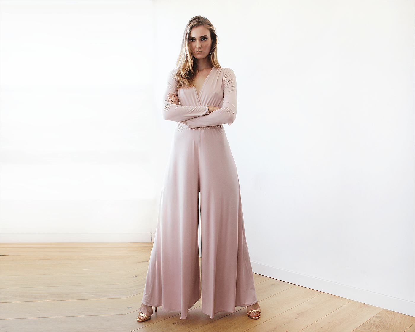 Long sleeves blush pink jumpsuit with wide pants 1129 ...