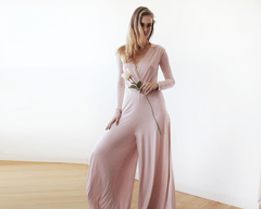 Long sleeves blush pink jumpsuit with wide pants 1129