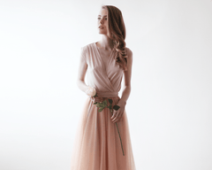 Pink Sleeveless Tulle Maxi Dress 1076