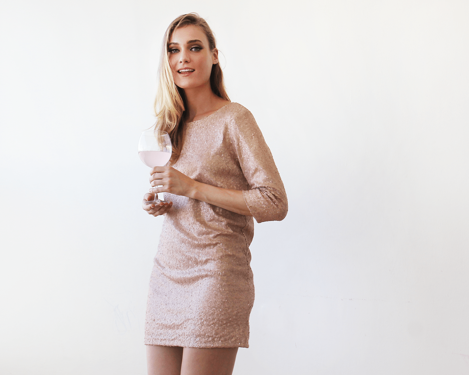 Sparkling pink sequins mini dress with open back SALE 1132