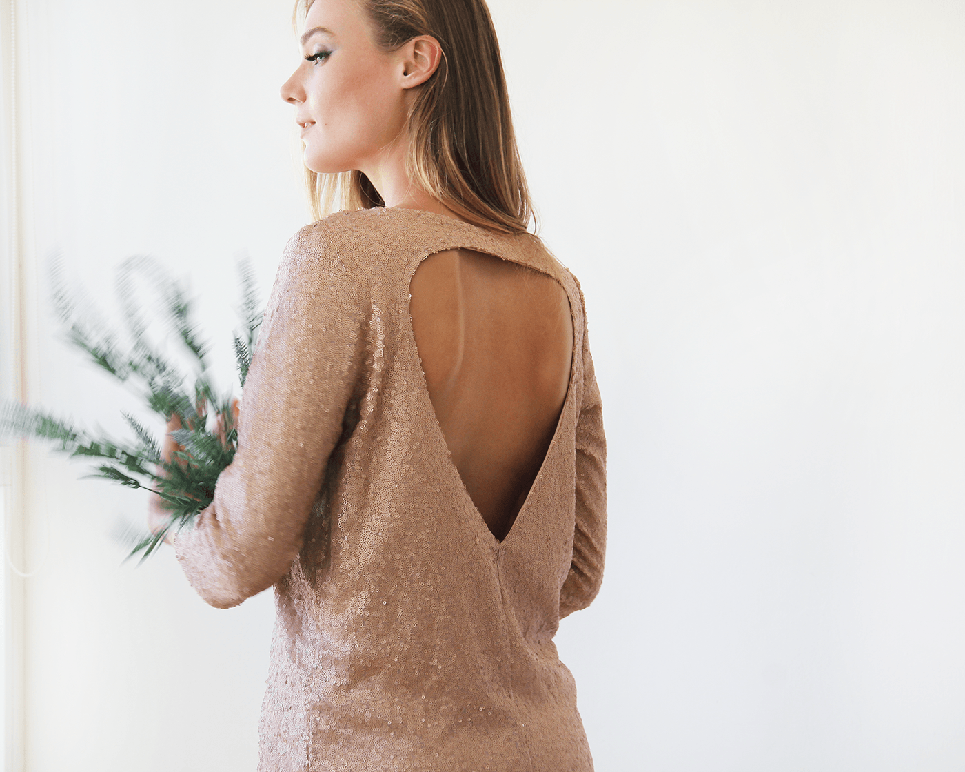 Sparkling pink sequins mini dress with open back SALE 1132 - Blushfashion