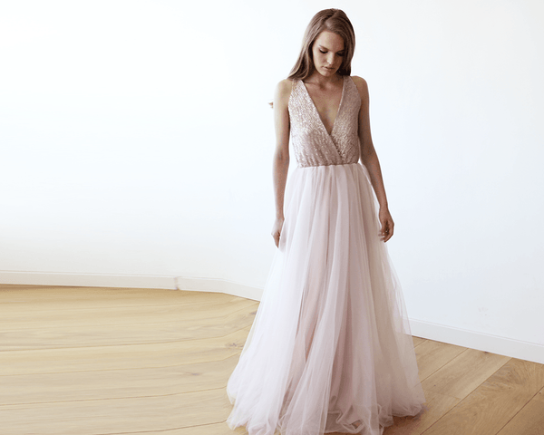 07b5a209067 Pink Sequins and Tulle Maxi Gown 1094 ...