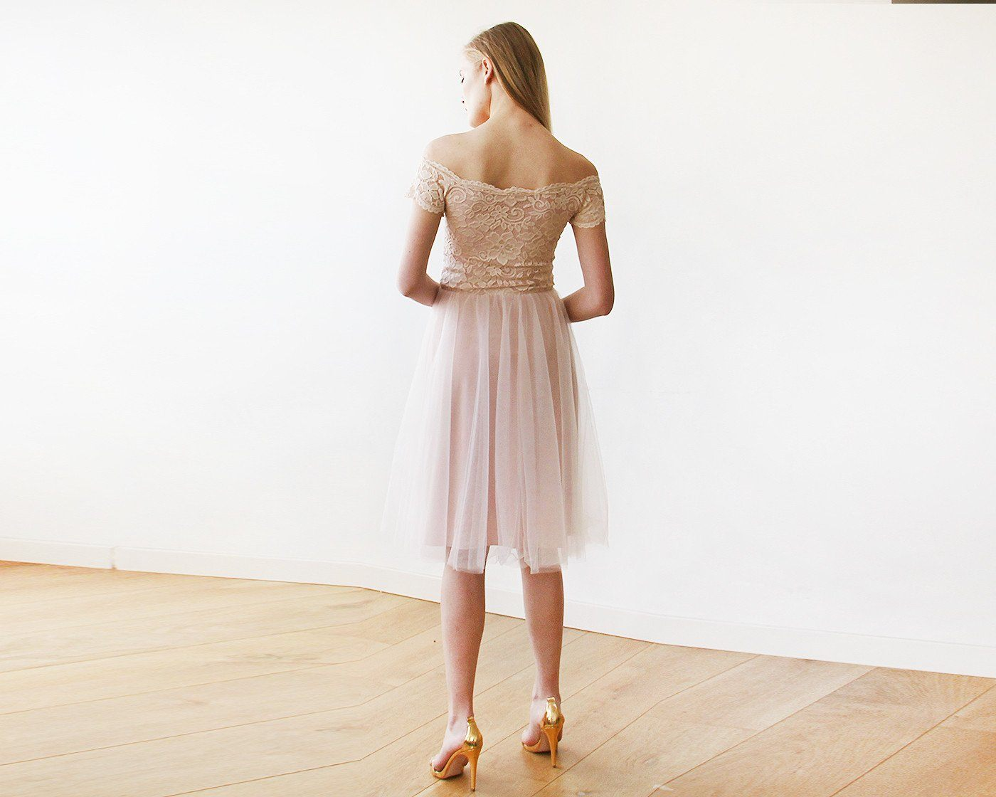 Off-the-Shoulders Blush Pink Tulle & Lace Midi Short Sleeves Dress 1153 - Blushfashion