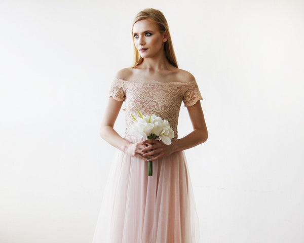 31c5a61748 ... Off-the-Shoulders Blush Pink Tulle & Lace Midi Short Sleeves Dress 1153