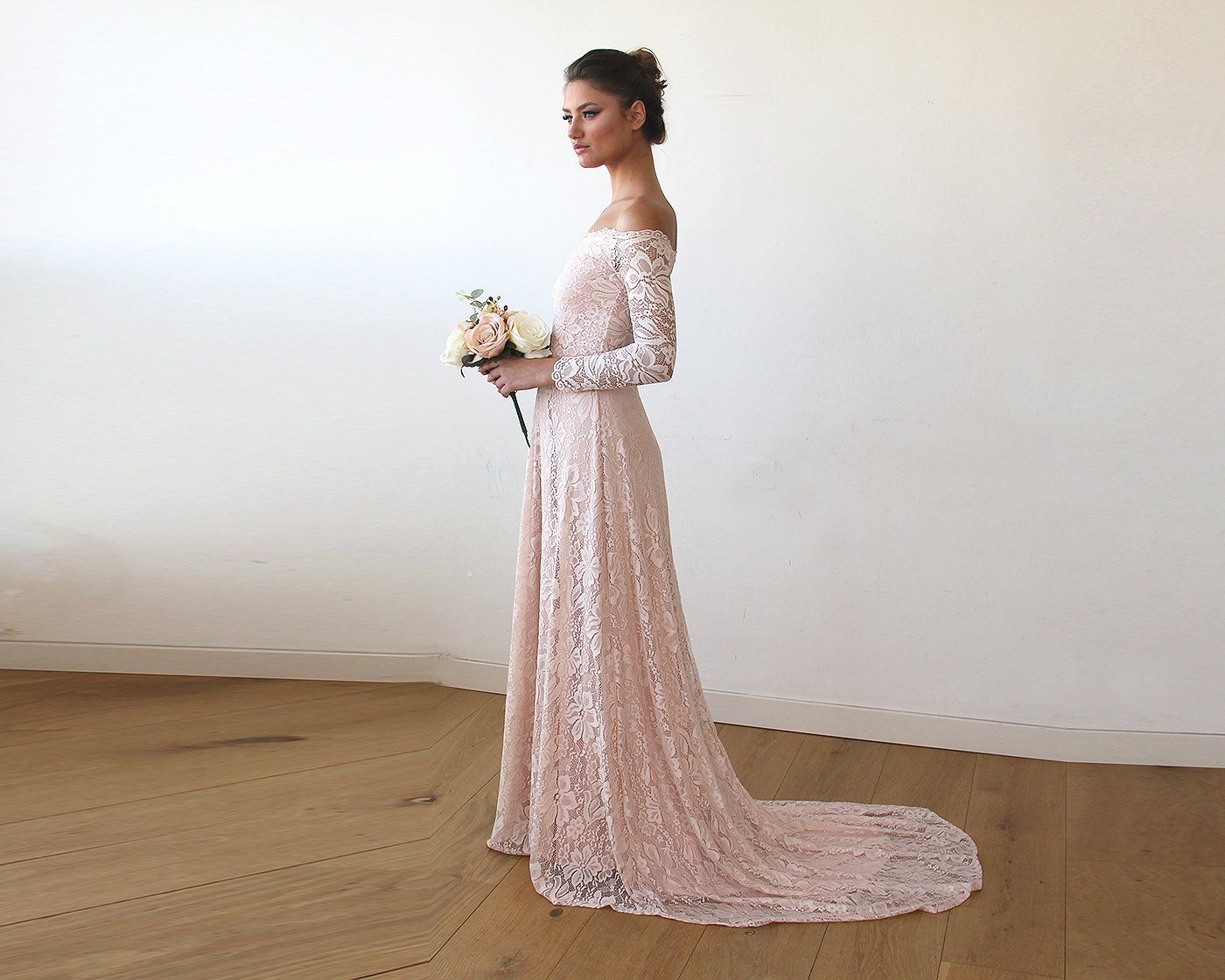 Pink Off The Shoulder Floral Lace Long Sleeve Gown With Train 1148
