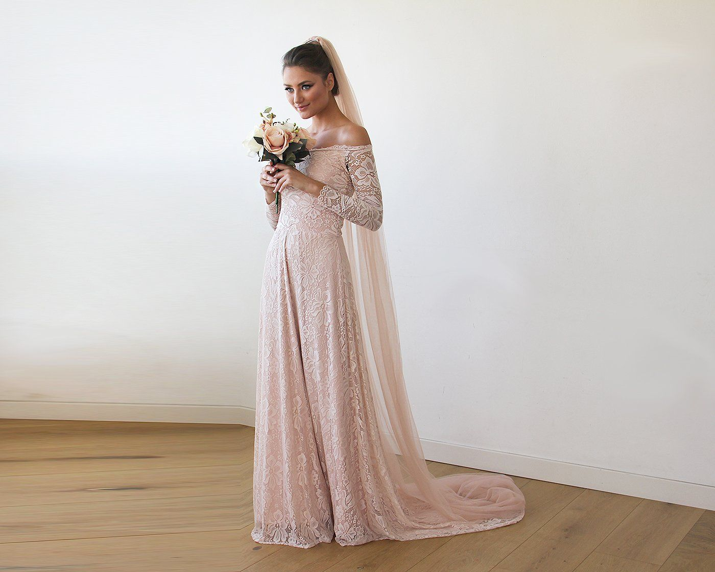 Baby Pink Off-The-Shoulder Floral Lace Long Sleeve Gown With Train 1148 - Blushfashion