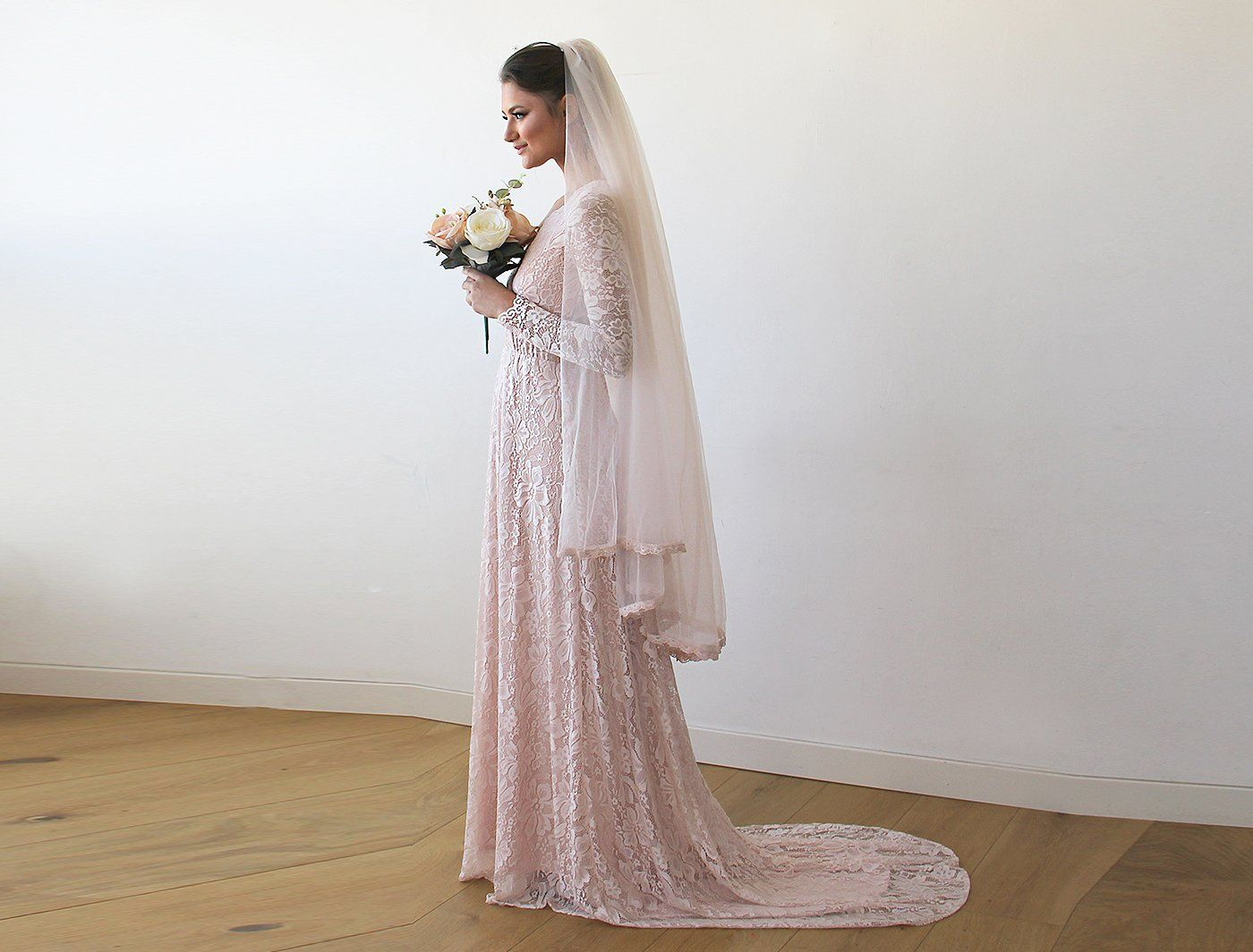 Pink Wrap Floral Lace Long Sleeve Gown with a Train  1151