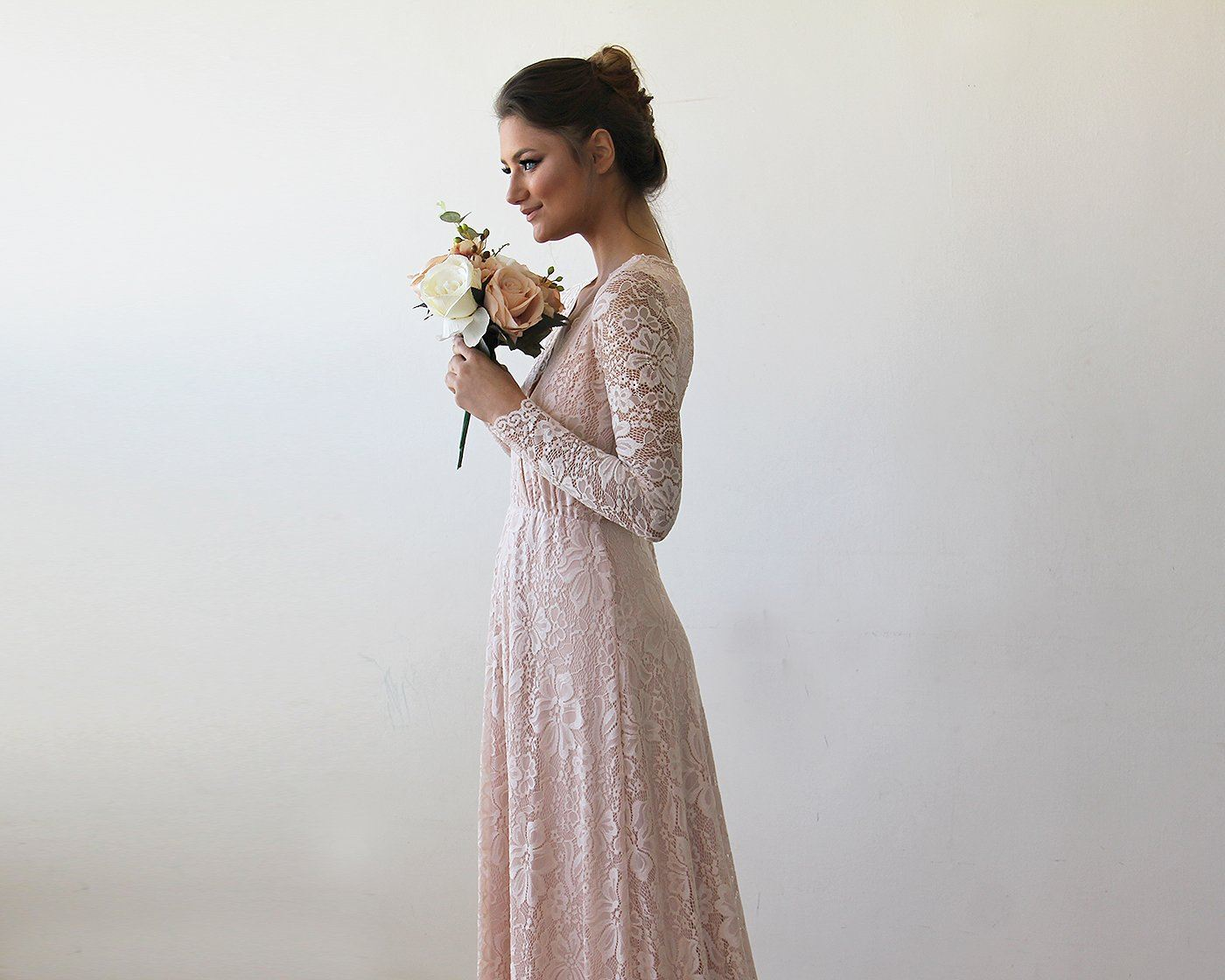 Pink Wrap Floral Lace Long Sleeve Gown with a Train 1151 ...