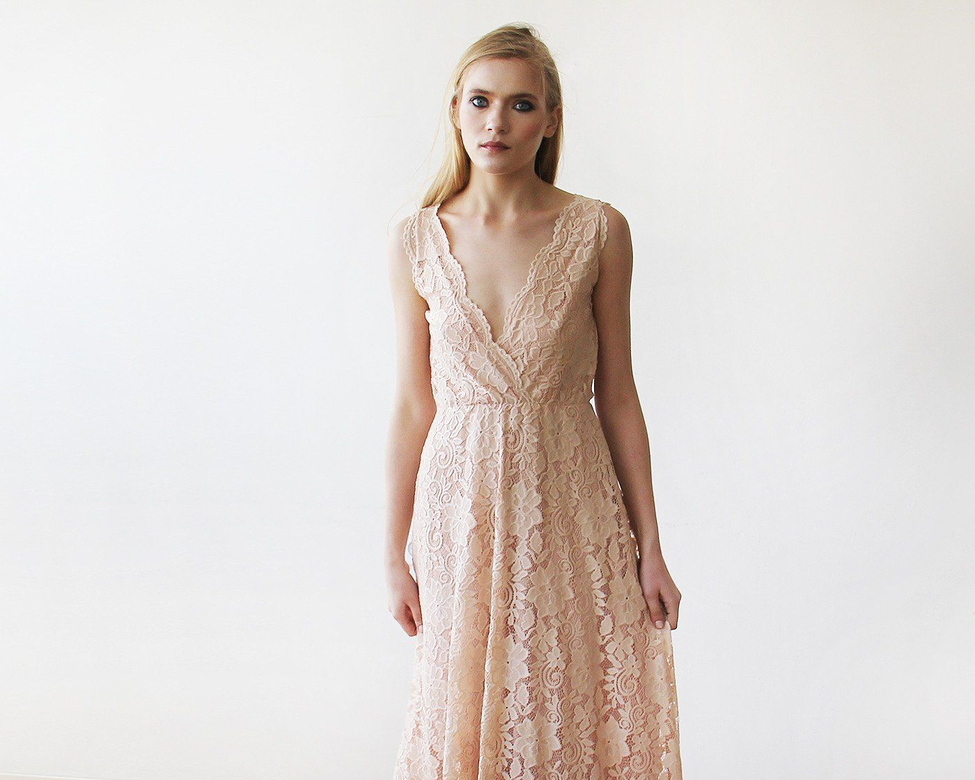 Blush Pink Sleeveless Lace Maxi Gown 1150 - Blushfashion