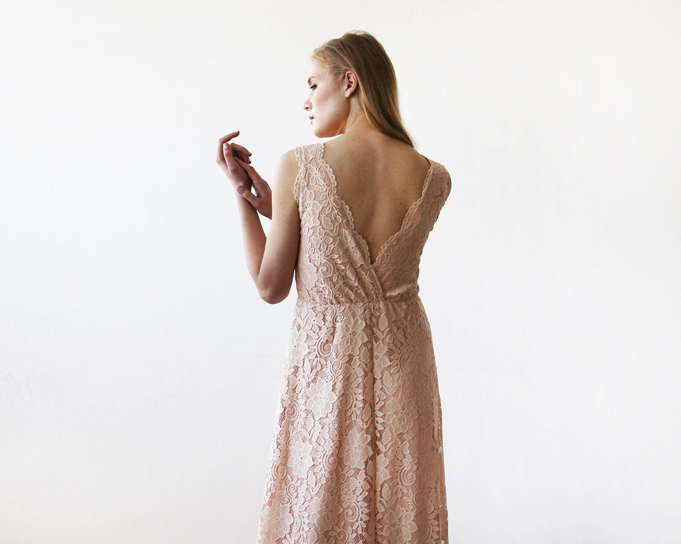 Blush Pink Sleeveless Lace Maxi Gown 1150