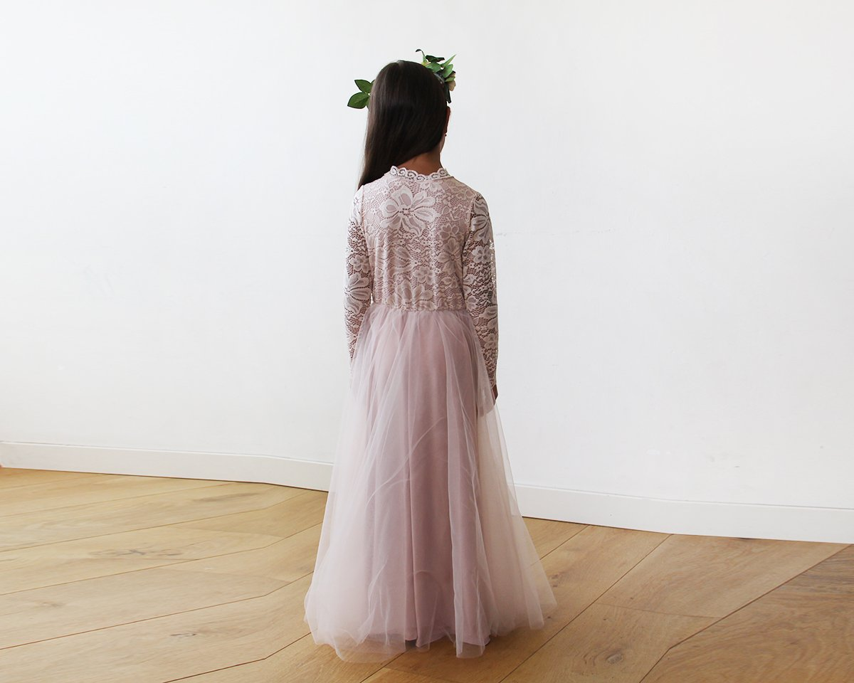 Mini Me Collection Blush Pink tulle and lace long sleeves gown,  1125