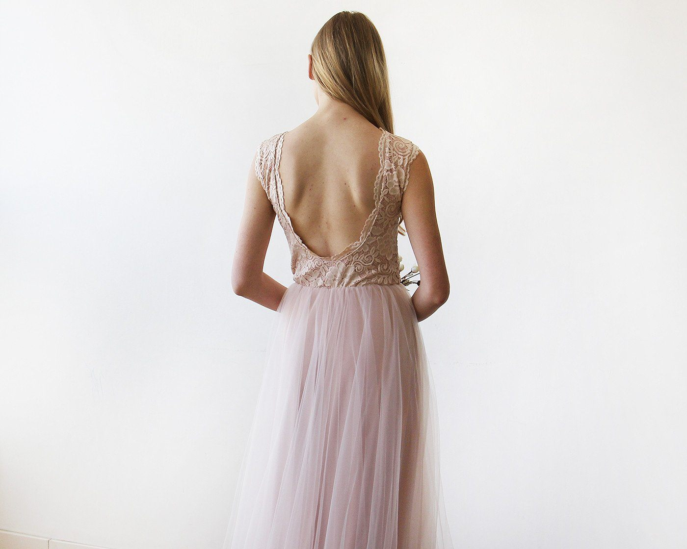 Pink Blush Tulle and Lace Sleeveless Maxi Gown 1145