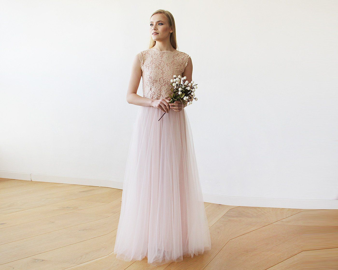 Pink Blush Tulle and Lace Sleeveless Maxi Gown 1145 - Blushfashion