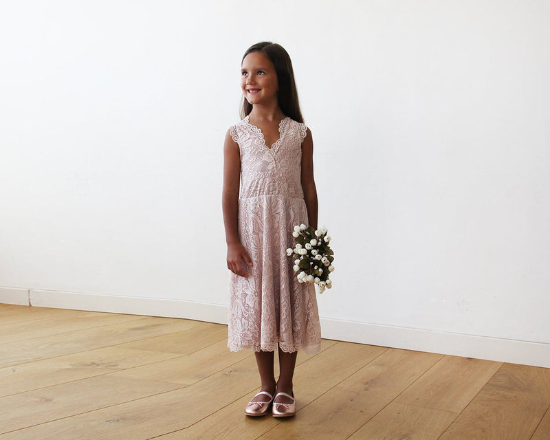 Midi Pink All Lace Sleeveless Flower Girl Dress #5048
