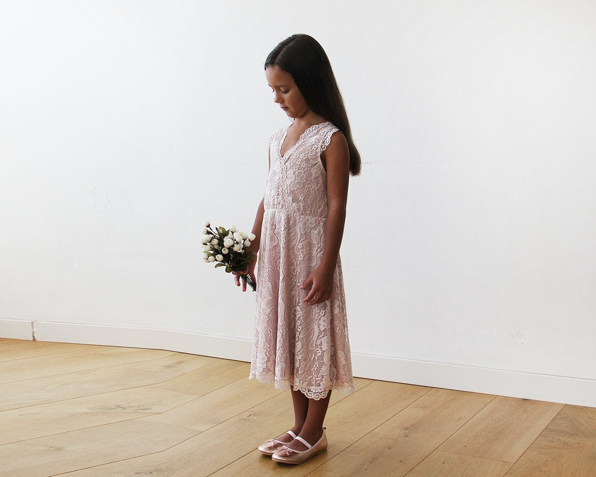 Midi Pink All Lace Sleeveless Flower Girl Dress 5048 - Blushfashion