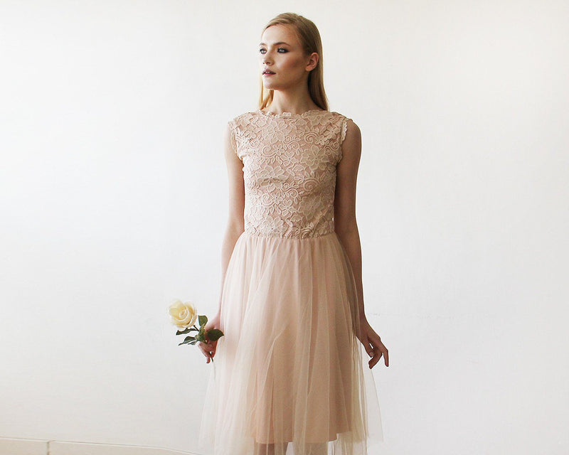 Pink Tulle and Lace Sleeveless Short Dress  #1159