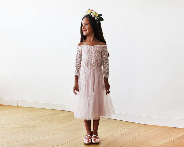Off-The-Shoulder Pink Lace and Tulle Midi Girls Gown 5041