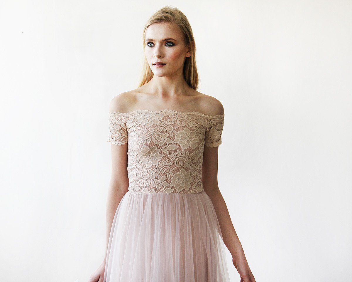 Lady Angel Free Shipping Short Beige Chiffon Bridesmaid: Romantic Blush Pink Floral Lace Maxi Dress. Long Off-the