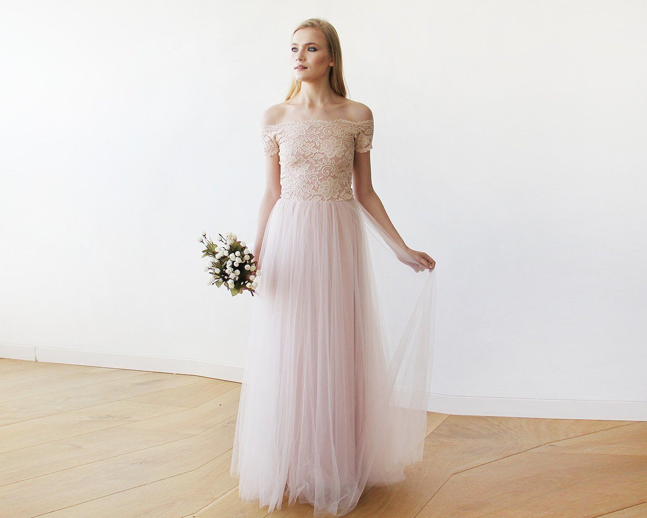 Lace off-shoulders short sleeves maxi blush tulle dress 1139