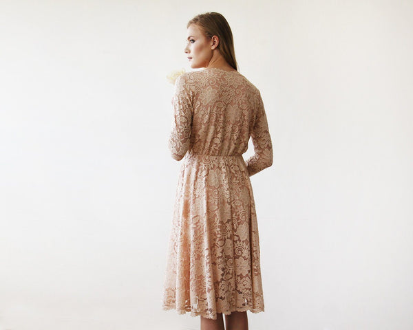 Pink Lace Long Sleeve Short Dress 1161