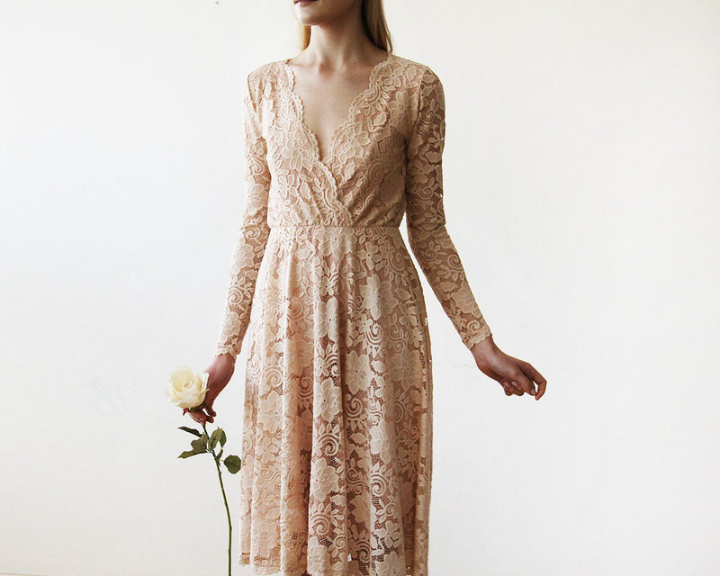 Pink Lace Long Sleeve Short Dress  #1161