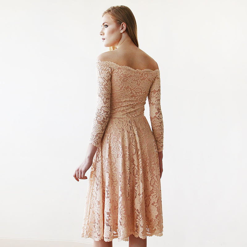 Pink Off-The-Shoulder Floral Lace Long Sleeve Midi Dress #1149