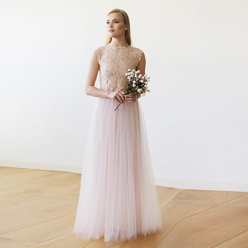 Pink Blush Tulle & Lace Sleeveless Maxi Gown #1145