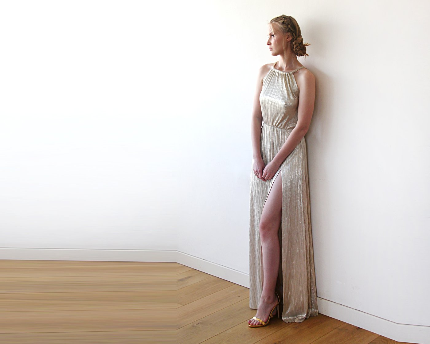 Group order for Danielle: Pleated Halter Neck Sleeveless Maxi Dress, Metallic Gold Dress 1200