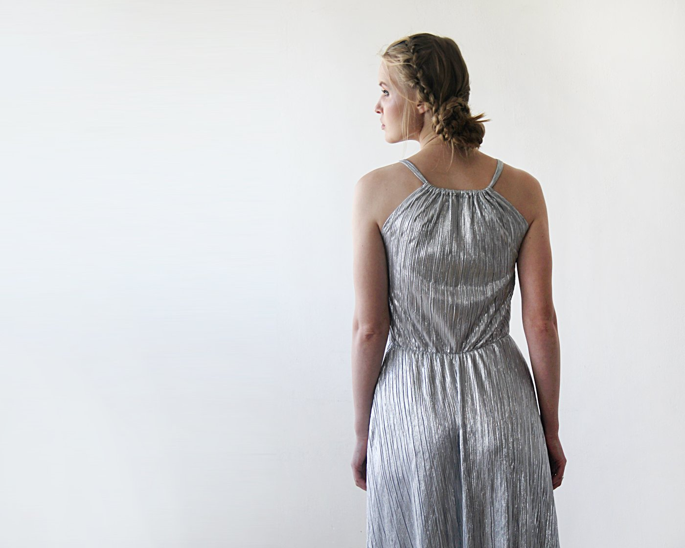 Pleated Halter Neck Sleeveless Maxi Dress, Metallic Silver Dress,Maxi Dress With A Slit 1200 - Blushfashion