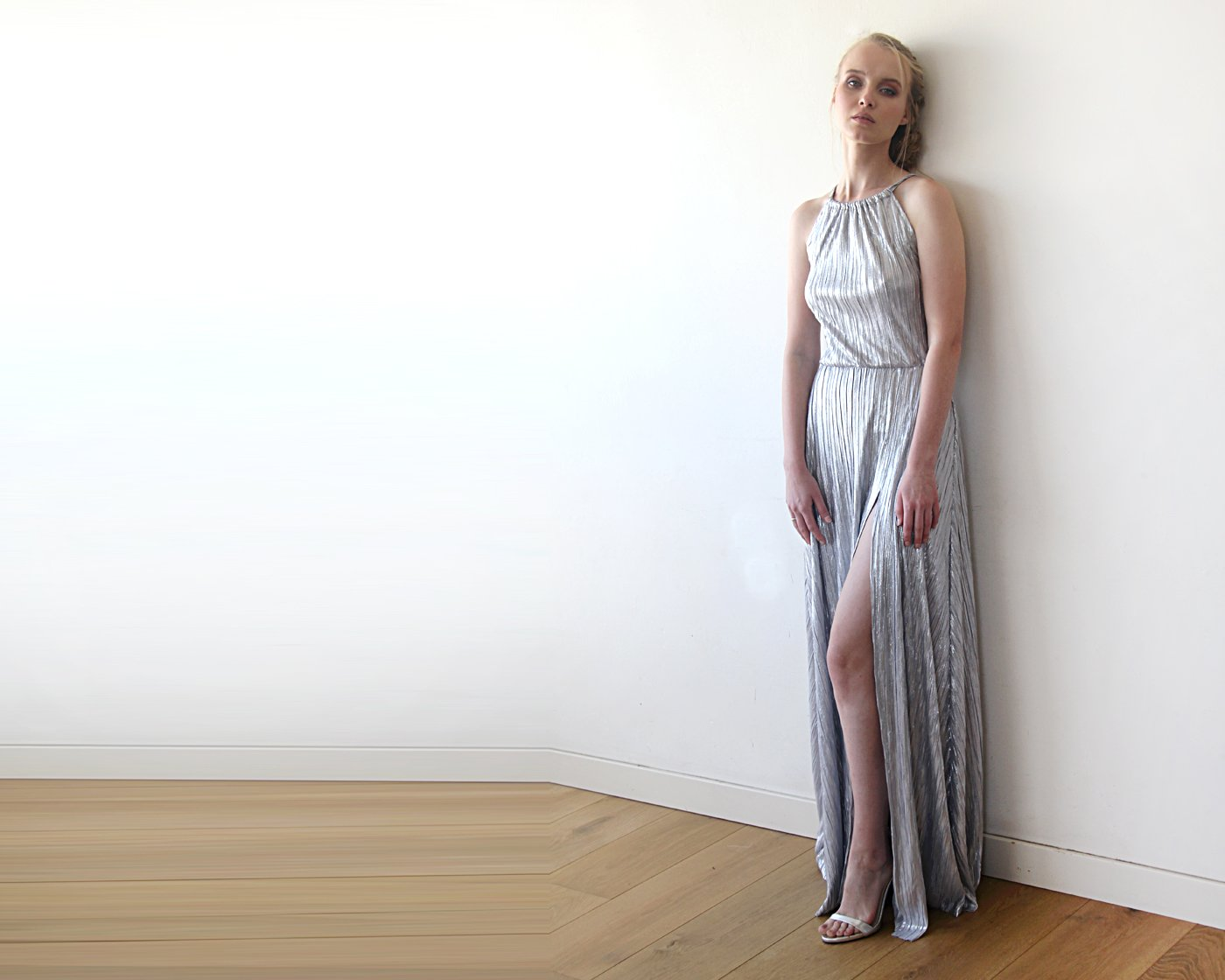 Pleated Halter Neck Sleeveless Maxi Dress, Metallic Silver Dress,Maxi Dress With A Slit 1200