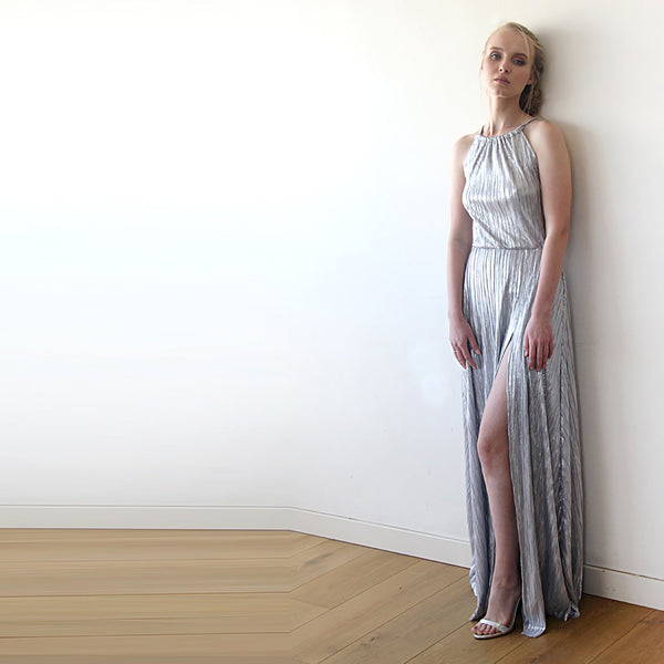Pleated Halter Neck Sleeveless Maxi Dress With A Slit #1200