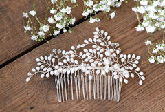 KMVEXO Simulated earl Bridal Wedding Hair Accessories Bridal Hair Combs Hairpin Wedding Hair Jewelry for Women Brides Tiaras - Blushfashion