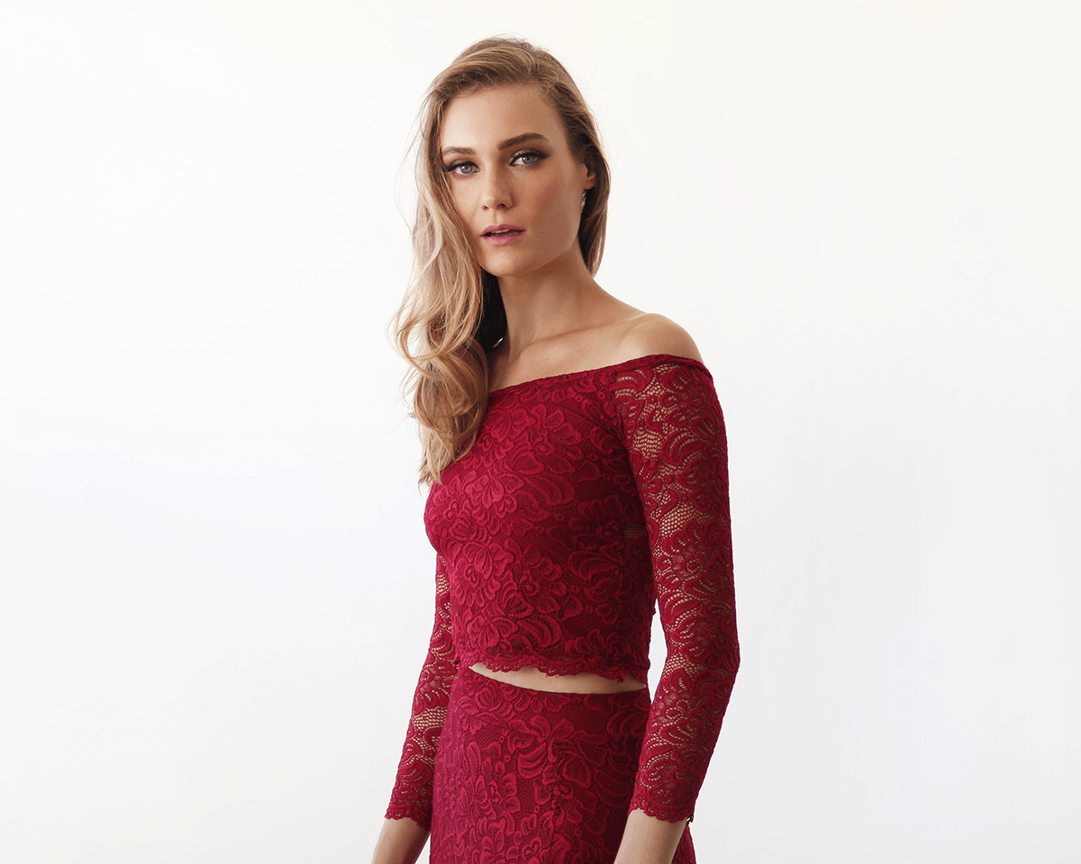 Off-The-Shoulder Bordeaux Floral Lace Long Sleeve Top 2049 - Blushfashion