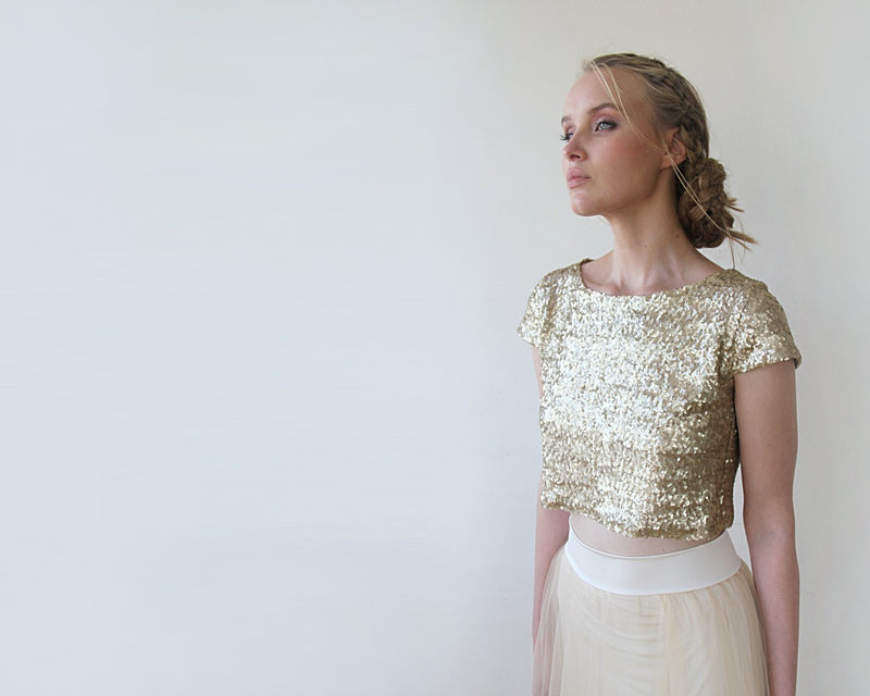 Sequins Gold Crop Top  #2050