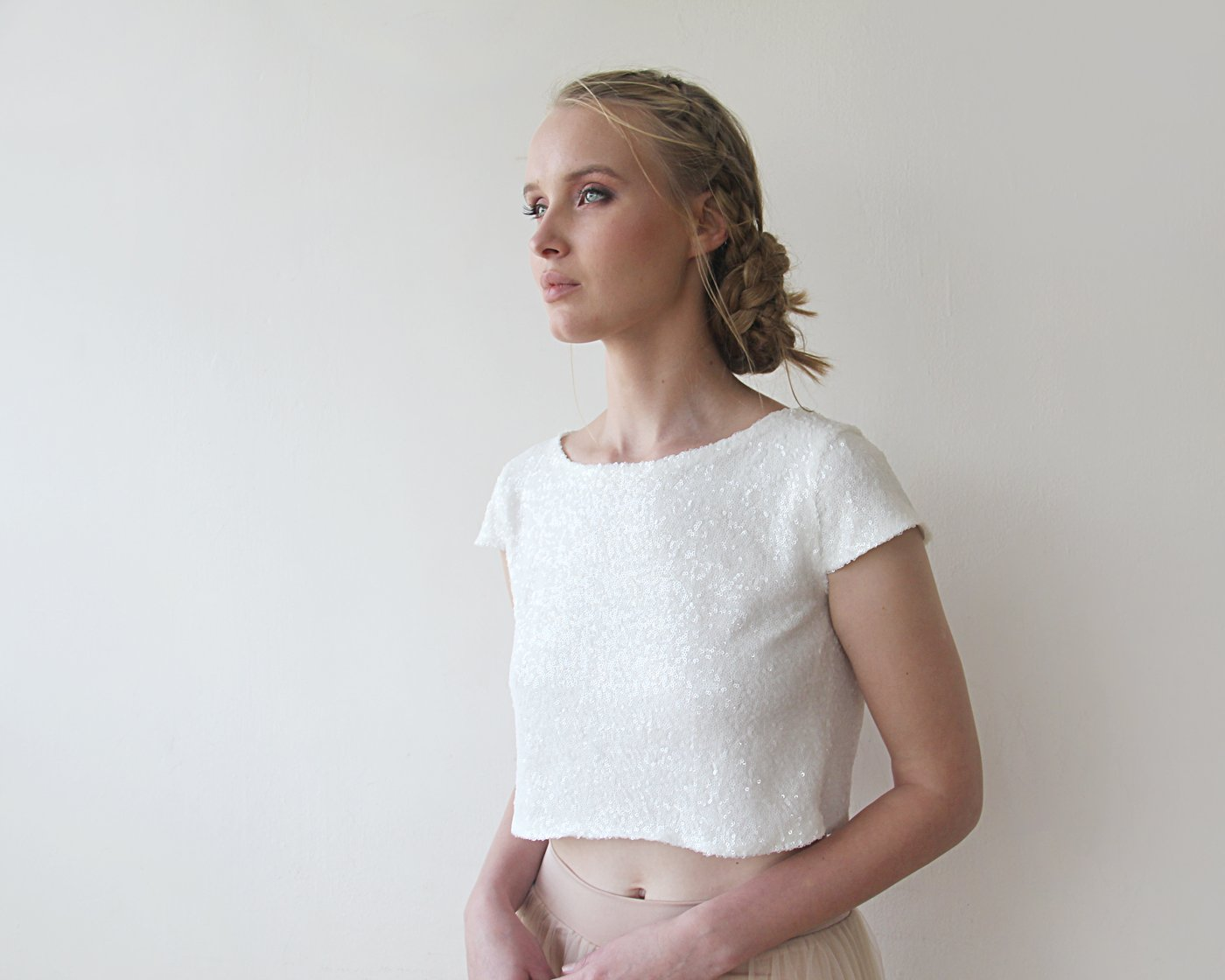 Sequins Bridal Crop Top , Ivory Sequins Cap Sleeves Shirt 2050
