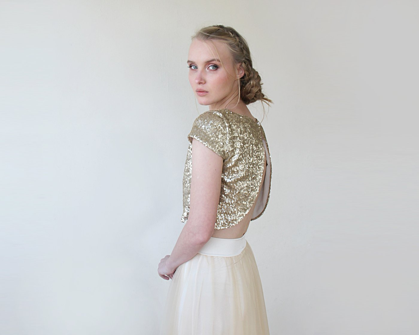 Sequins Crop Top , Gold Sequins Cap Sleeves Shirt 2050
