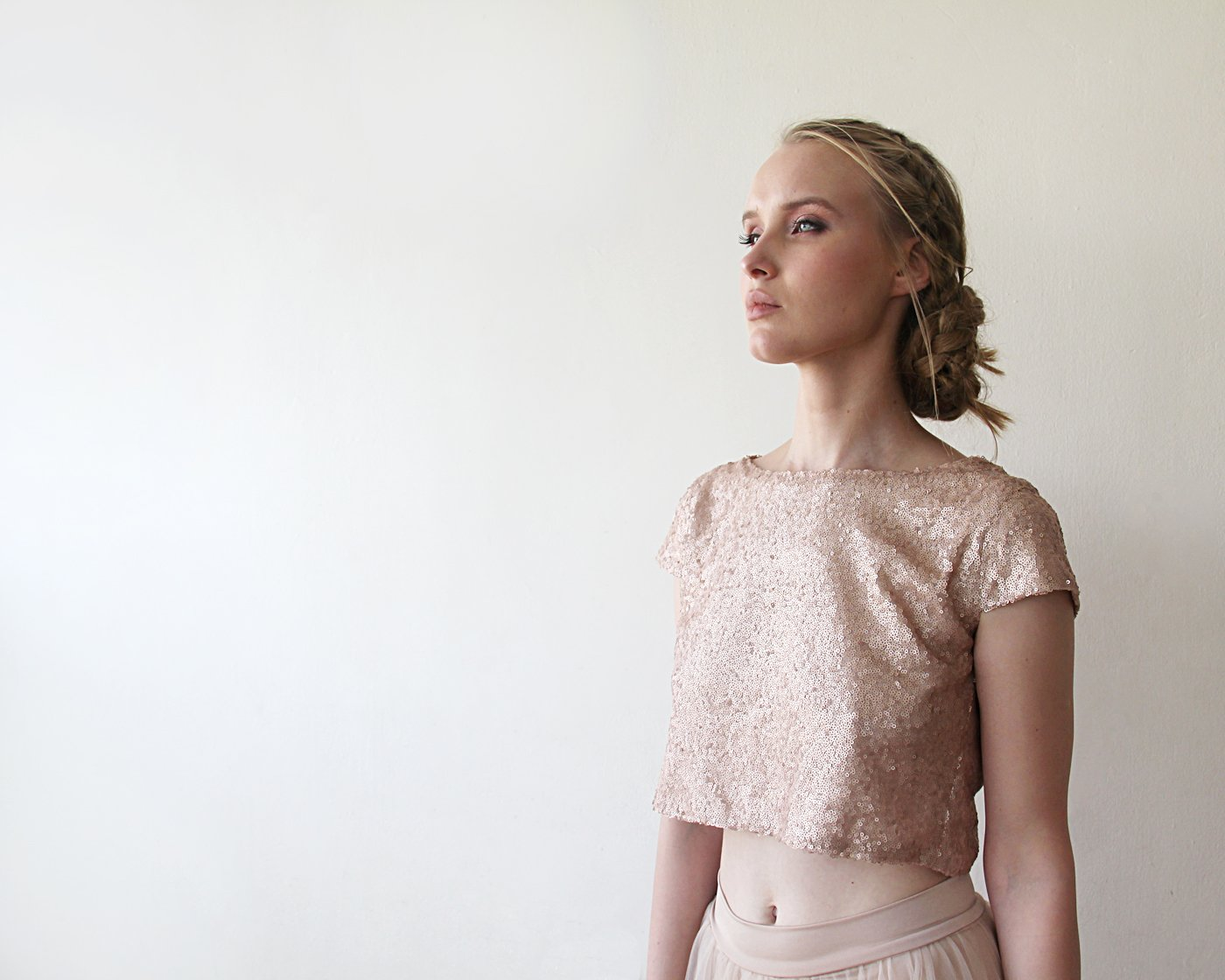 Pink Sequins Crop Top , Blush Sequins Cap Sleeves Bridesmaids Shirt 2050 - Blushfashion