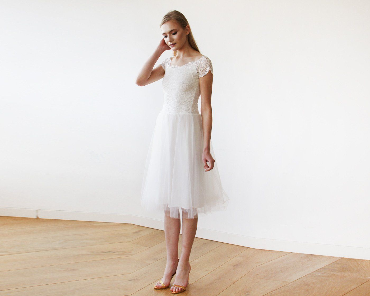 Ivory Off-the-Shoulders Tulle & Lace Midi Short Sleeves Dress SALE 1153