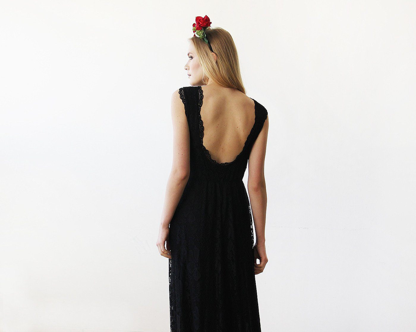Black Lace Sleeveless Open Back Maxi Dress 1141